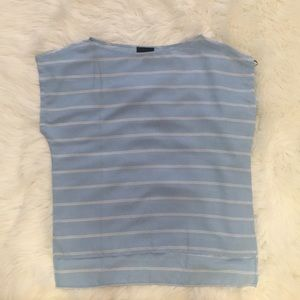 Light blue and white striped blouse